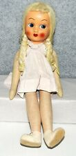 """Antique Cloth Jointed Girl Doll Blonde Hair Blue Eye Hand Painted Face 16"""""""