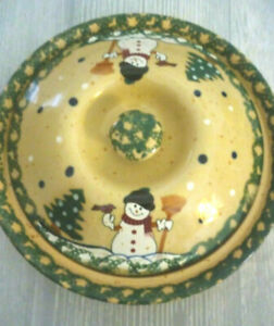 Country Snowman Stoneware Pottery Covered Dessert Pie Keeper/ Dish with lid
