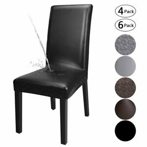 1/4/6PCS Dining Chair Covers PU Leather Waterproof Durable Wedding Party Cover