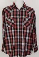 Ely Plains Western Shirt Pearl Snap Mens Long Sleeve Plaid Size XL Cowboy