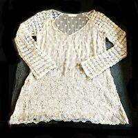 """JOHNNY WAS 4 LOVE AND LIBERTY Sheer Silk Ivory Embroidered Tunic Top Sz M """"Raja"""""""