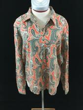 Liz and Co. button down top Size XL long sleeve orange green paisley
