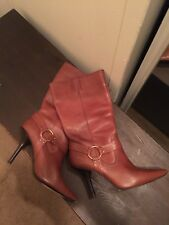 95deaeaf35b2 MICHAEL KORS TAN LEATHER HIGH KITTEN HEEL GOLD HARNESS POINTY TOE BOOTS SZ 10  M