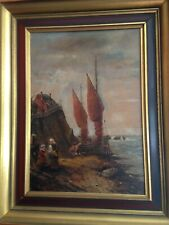 Vintage Oil Painting - Colonial Settling - Early Age Of Sail - Signed - German?