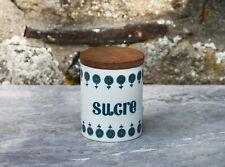 Vintage pot à sucre en plastique et couvercle en bois Grosfillex