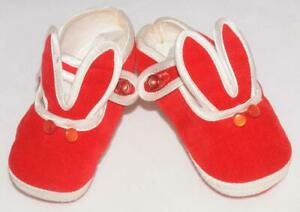 Vintage - Red Velvet White Trim - Baby Bunny Shoes sz 0 *Japan *Great Condition