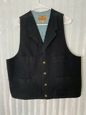 King Ranch Men's L Large Cotton Canvas Vest Lined Brown Button-up
