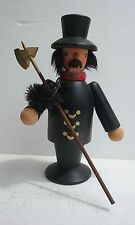 """Erzgebirge Wooden Incense Smoker Chimney Sweep Figure Man With Pipe 6"""" Tall"""