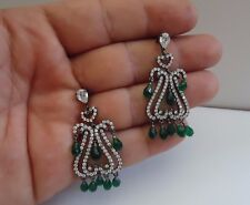 925 STERLING SILVER TEARDROP DANGLING CHANDELIER EARRINGS W/14 CT EMERALD/ACCENT