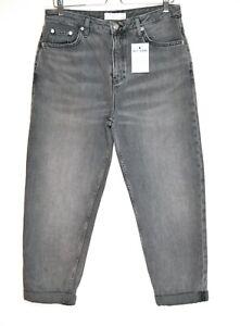 Topshop HAYDEN Boyfriend Loose Black / Grey Relaxed Oversized Jeans 12 W30 L30
