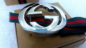 Authentic Silver Gucci Interlocking Double G Belt Designer Buckle