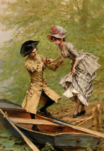 Oil painting frederick hendrik kaemmerer - boating party young lady man & boat