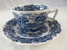 "BOOTH'S CHINA DARK BLUE BRITISH SCENERY A8024 CUP & SAUCER 3-1/2"" DIAMETER"