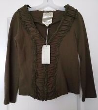 Nick and Mo Exclusive Collection V-Neck Ruffle Green Jacket Women's Size M
