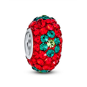 Red Christmas Flower Crystal Spacer Charm Bead 925 Sterling Silver