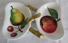NSP Hand-Painted Pear Apple Cherries Butterfly Shape Divided Dish Made in Italy