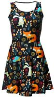 Cute Floral Fox, Rabbit, Hedgehog Animal Nature Jungle Print Skater Flare Dress