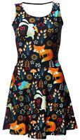 Cute Floral Fox, Rabbit, Hedgehog Animal Nature Jungle Print Skater Flare Dress