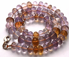 """261 CT 16"""" Finest Natural Ametrine Faceted Rondelle BEADS NECKLACE 8 TO 10 MM"""