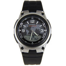 Casio Mens Quartz Watch with Digital & Analogue Display Black Resin Strap AW-80