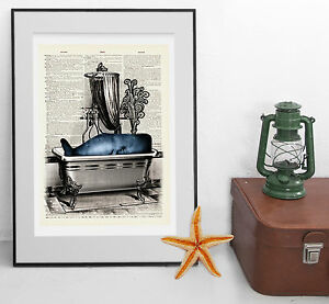 'Whale in the Bath' Print: Vintage Dictionary Art - Bathroom Art - Poster