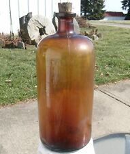 "Large 13-1/2"" Amber/Brown Cork Top Glass Bottle Embossed Diamond ""I"""