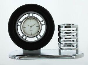 Pen Pencil Holder Analog Desk Mini Tire Clock Pen Holder