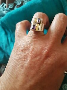 925 Silver, Gorgeous Chunky Ring with Purple Stones