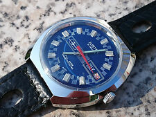 Vintage 1970´s NOS Justex Armbanduhr Watch 21 Juwels Tropic-Strap Blue Dial