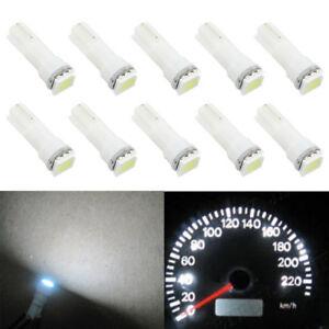 10X T5 5050 White Dashboard Gauge 1SMD LED Wedge Instrument Panel Lights Bulb
