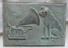 "Nipper Victor Edison dog phonograph patina bronze wall plaque 7"" x 9-1/2"""