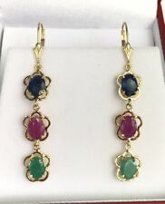 14k Solid Gold Leverback 3 Stones Dangle Earrings, Ruby Emerald Sapphire 6CTW