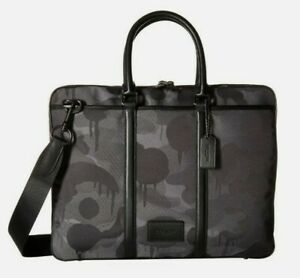 New $450 Coach Metropolitan Slim Briefcase Cordura in Grey Wild Beast Print