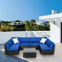 7PC Wicker Sofa Set Garden Rattan Sectional Furniture Outdoor Patio Cushion