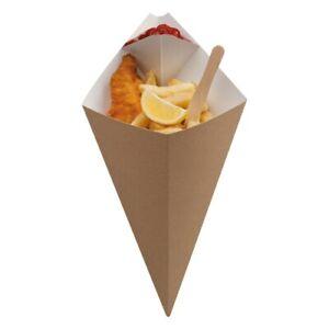 10 x CHIP CONE Corner Dip Pot Small Brown Cardboard Disposable Takeaway FastFood