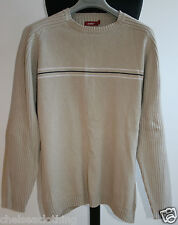 NEW CELIO Jumper Beige Pull-Over Knitted Sweater Ribbed 100% Cotton Crew Neck L