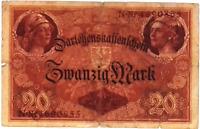 1914 German Empire  Kaiser WW1 20 Mark Banknote Low Grade