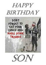 Banksy Inspired Personalised Hand Made Printed Card, any name, age, relation