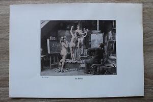 Jugendstil Kunst Blatt 1905 Erotik Frau IM ATELIER Akt Nude Erotic Risque nackt