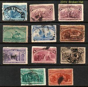 230-239, 1¢-30¢ COLUMBIANS Includes Broken Hat 11 Diff ⭐⭐⭐⭐⭐