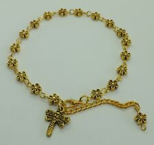 Gold Tone Daisy Flower Beads Dragonfly Charm Anklet Ankle Bracelet Beach Anklet