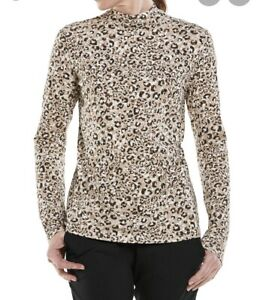 Women's Coolibar long sleeve Cheetah print shirt size small UPF 50+ Outdoors NWT