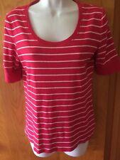 Jones New York Size M 8 10 Fuchsia White Striped Cotton Shirt Top Blouse med euc