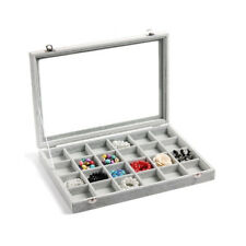 Valdler Clear Lid 24 Grid Jewelry Tray Showcase Display Storage Jewelry Boxes