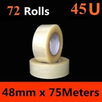 72 x HD Packing Tape Packaging Clear Sticky Sealing Tape 48mm 75M transparent