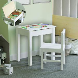 Aries Kids Table Desk Chair Set Playroom Lift Lid Storage Solid Pine Wood White