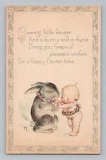 Vintage ROSE O'NEILL / KEWPIE DOLL Postcard EASTER BUNNY RABBIT Card / KEWPIES