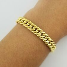 "14K Yellow Gold Over 925 Women 7"" Italian Cuban Curb Link Chain Bracelet"