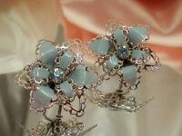 X Beautiful Vintage 1950's Blue Rhinestone & Enamel Flower Earrings  1983o