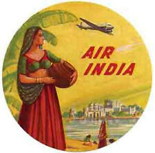 Air India Airline 1950's  Vintage Style  Travel Decal Sticker luggage label